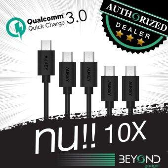 Aukey [สายหนา 4 mm] สายชาร์จ Quick Charge 3.0+2.0 Compatible Micro 2.0 USB Cable สายชาร์จ/สายซิงค์ รองรับการชาร์จไวจากระบบ Fast Charge Qualcomn QC3.0+2.0 ยาว 1.2 เมตร สีดำ (แพ็ค 5 เส้น: 2m x 1, 1.2m x 2, 0.3m x 2) สีดำ