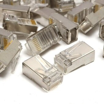 50PCS RJ45 Cat6 8Pin 8C ShieldedStranded Crimp Modular Plug Connector 20mmx10mm - intl
