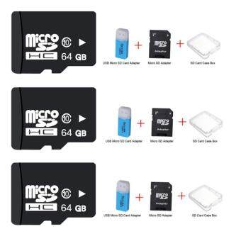 64GB Micro SD Card Class 10 Fast Speed+Micro SD Adapter+SD CaseBox+USB Micro SD Card Adapter 3ชุด