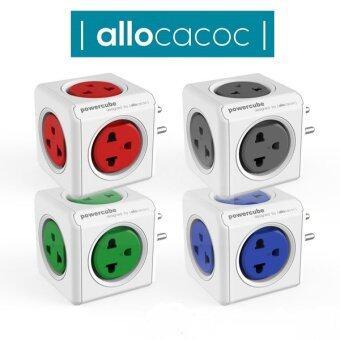 Allocacoc PowerCube Original PH 4180GN Universalปลั๊กลูกเต๋าป้องกันไฟกระชาก (RED)