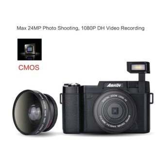 "Harga Amkov AMK-R2 24MP 1080P 3.0"" LCD Rotatable Screen Digital SLR DV Recorder Camera Black - intl"