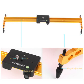 Andoer 60cm Video Track Slider Dolly Track Rail Stabilizer Aluminum Alloy for Canon Nikon Sony Cameras Camcorders Max Load Capacity 6Kg Gold Color - intl