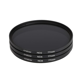 Andoer 77mm Fader ND Filter Kit Neutral Density Photography FilterSet (ND2 ND4 ND8) for Nikon Canon Sony Pentax DSLRs