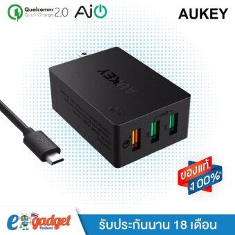 Aukey 3-Port USB Desktop Charging Station Wall Charger with Qualcomm Quick Charge 2.0 และ AiPower หัวปลั๊กชาร์ทไฟ 3ช่อง QC2.0+ AiPower 2ช่อง ที่ชาร์จมือถือพร้อมสาย Micro USB ในกล่อง รุ่น PA-T2 (Black)