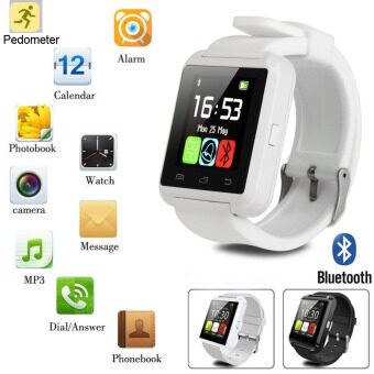 Aukey Bluetooth Smart Wrist Watch Phone Mate Camera for Android& IOS iPhone HTC Sony (White) (Intl)