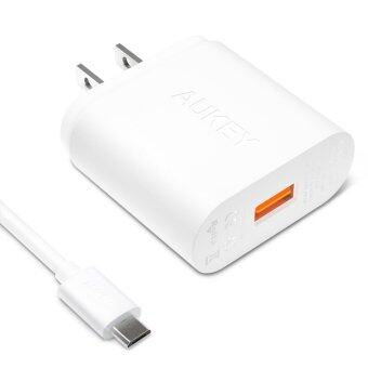 Harga Aukey Quick Charge 2.0 USB Turbo Wall Charger Fast Chargerหัวปลั๊กชาร์ทไฟ พร้อม สาย USB 1เมตร PA-U28 (White)