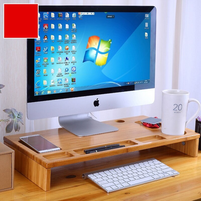 Bamboo Monitor Stand Riser with Storage Organizer, Laptop Cellphone TV Printer Stand Desktop Container - intl