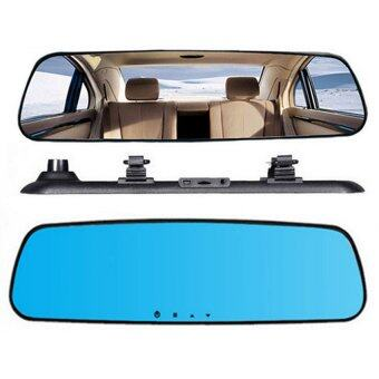 BEST กล้องติดรถยนต์ รูปทรงกระจกมองหลัง Vehicle Blackbox DVR Full HD1080P 2.4 -Black