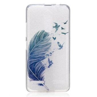 Bird feather TPU Soft Gasbag Back Case Cover For Lenovo K6 Case -intl