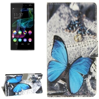 Blue Butterfly Pattern Horizontal Flip Leather Case with Holder& Card Slots & Wallet for Wiko Ridge Fab 4G