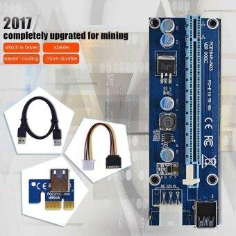 จัดโปรโมชั่น Blue PCI-E Express Powered Riser Card USB 3.0 extender Cable 1x to16x Monero - intl
