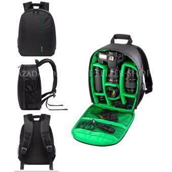 Camera Backpack Bag Waterproof กระเป๋าเป้สะพายหลังสำหรับใส่กล้อง กันน้ำ DSLR Case for Canon/Nikon/Sony (Green)