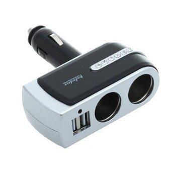 Car Charge Hub 2 USB + 2 Chargerเพิ่มช่องจุดบุหรี่ในรถ รุ่นWF-0302\n(สีดำ-เงิน)