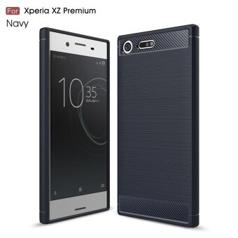Carbon Fibre Brushed TPU Flexible Case for Sony Xperia XZ Premium -Dark Blue - intl