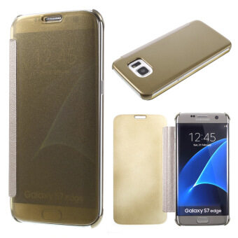Clear View PC Leather Phone Case for Samsung Galaxy S7 Edge G935 -Gold - intl