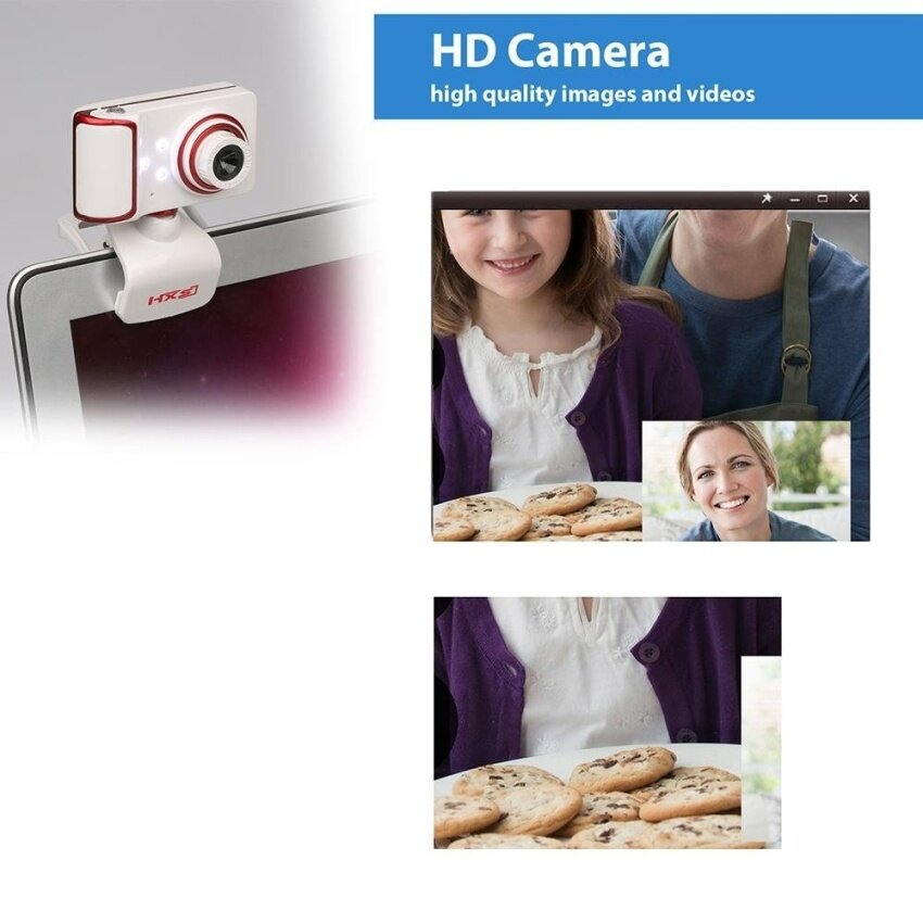 Computer Laptops Accessories 30fps 8mm-infinity 16MP Pixel 640x480 180 Degrees Rotatable HD Webcam Digital Video Clip-on Web Camera with Microphone Mic 3 LED for Laptop Desktop TV - intl