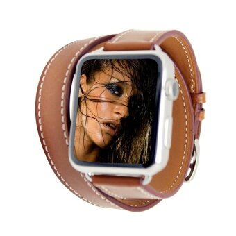 Cowhide Leather Band Double Loop Bracelet Watch Band Strap for iWatch Series 3/2/1 42mm - intl