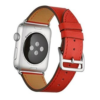Cowhide Leather WatchBand Single Loop Strap for iWatch 38mm Series 3/2/1