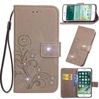 Diamante Flower Debossed Leather Flip Cover Case for Xiaomi Mi Max2 - intl