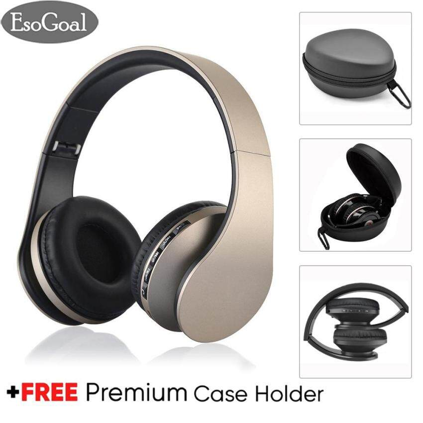 Esogoal Wireless Bluetooth Headphone Foldable Headset and Hard Protective Storage Travel Pouch Box ,Noise Isolation Over Ear Earphone with Mic,Free Carabiner
