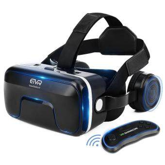 ETVR 3D VR Headset With Remote Controller Large Viewing Immersive Experience Virtual Reality Glasses with Builted-in Stereo Headphone for VR Games  3D Movies - Fit for IOS Android Smartphones - intl
