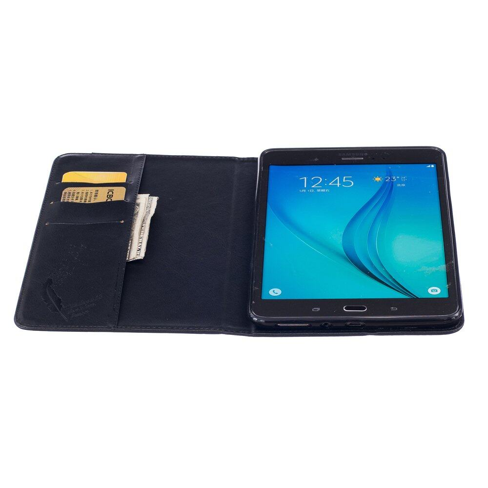 Pu Leather Flip Cover For Samsung Galaxy Tab A 80 Sm T350t355cp355 Case Book 2017 8 Inch T385 Feather Wallet Stand Galaxytab T350 Black