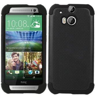 For HTC One M8 Case Heavy Duty Protective Armor Shock AbsorbingDual Layer Hybrid Rugged Rubber Cover Case Black Color (Intl)