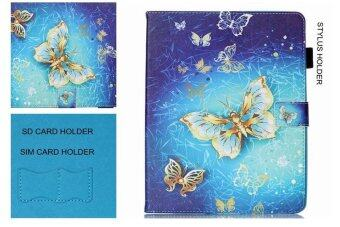 For Samsung Galaxy Tab S2 8.0 SM-T715 With Stylus Holder LeatherCase Flip Stand Cover - Golden Butterflies - intl - 2