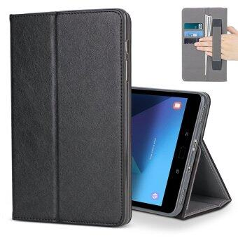 For Samsung Galaxy Tab S3 9.7 Case, Premium Leather MultipleViewing Stand Cover with Hand Strap , Auto Wake/Sleep Smart FolioFlip Card Holder for Samsung Galaxy Tab S3 SM-T820 T825, Black -intl