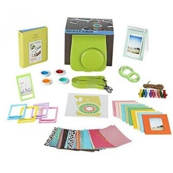 Fujifilm Instax Mini 9 Camera Accessories Bundle 11 PC Kit Includes:LIME Instax Camera Case + Strap 2 Albums Color Filters Selfie lens Magnets + Hanging + Creative Frames 60 stickers Gift Box - intl