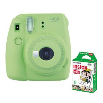 Fujifilm กล้องอินสแตนท์ รุ่น Instax mini 9 (สี Lime Green) +Fujifilm แผ่นฟิล์ม Instax Mini Pack 10 แผ่น