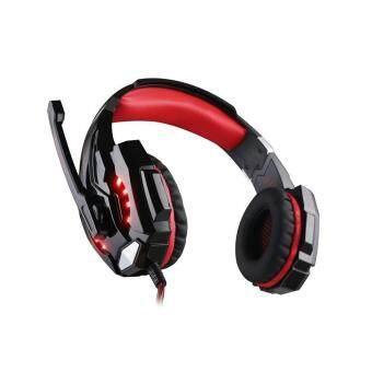 G9000 หูฟังเล่นเกมพร้อมไฟ LED สำหรับแท็บเล็ตสำหรับแล็ปท็อป (สีดำแดง) - intl