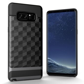 Galaxy Note 8 Case , MOONCASE Slim Dual Layer PC Bumper Frame +Reinforced TPU Protective Textured Geometric Case Cover CornerCushion Design for Samsung Galaxy Note 8 Silver - intl