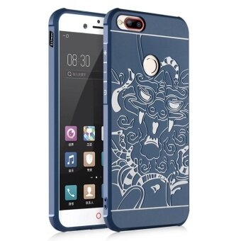 Hicase Shock Absorption Bumper Embossed Soft TPU Anti-Scratch Cover Case for ZTE nubia Z17 mini Navy Blue [Dragon] - intl