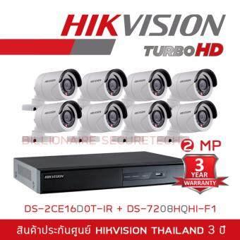 HIKVISION ชุดกล้องวงจรปิด 2 MP DS-7208HQHI-F1 + DS-2CE16D0T-IR*8 (3.6 mm)