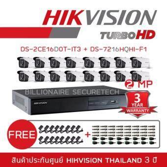 ลดราคา HIKVISION ชุดกล้องวงจรปิด 2 MP DS-7216HQHI-F1 + DS-2CE16D0T-IT3*16 (3.6 mm) 'FREE' BNC +DC + ADAPTOR