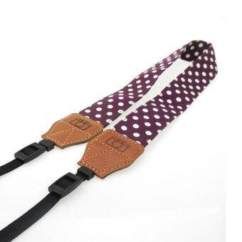 iBelieve Cotton Polka Dot Pattern Adjustable Camera Strap NeckStrap for DSLR Camera (Wine red with white dot) - intl