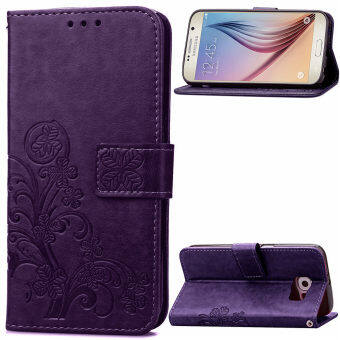 Harga PU Leather Lucky Clover Flip Wallet Stand Cover for Samsung Galaxy S6 SM-G920F (Purple) - intl