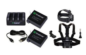 Harga GOPRO Smatree® 1290mAh Replacement battery (2-Pack) for GoPro Hero4 and 3-Channel charger + USB Cord for Gopro Hero 4 Camera Camcorder+Head Strap Mount+Chest Belt Strap Mount