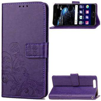 Harga Huawei P10 Case, Lucky Clover PU Leather Flip Magnet Wallet Stand Card Slots Case Cover for Huawei P10 (Purple)-intl