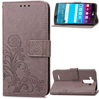 Harga Lucky Clover PU Leather Flip Magnet Wallet Stand Card Slots Case Cover for LG G4 Gray - intl