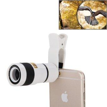 Harga 8X Zoom Telescope Telephoto Camera Lens with Clip for iPhone & Samsung & HTC and Other Mobile Phones(White)