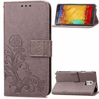 Harga Lucky Clover PU Leather Flip Magnet Wallet Stand Card Slots Case Cover for Samsung Galaxy Note 3 N9000 Gray - intl