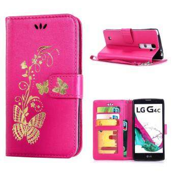 Harga Leather Case For LG G4c / LG G4 Mini / LG Volt 2 / LG Magna Bronzing Butterfly Flip Wallet Stand Cover with Photo Frame Hotpink - intl