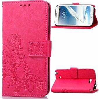 Harga Lucky Clover with Wallet Card Slots Flip Stand Cover for Samsung Galaxy Note 2 N7100 (Hot Pink)