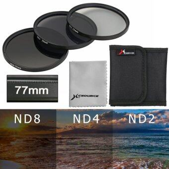 Harga XCSource ฟิลเตอร์เลนส์ (3 ชิ้น) 77mm ND2 ND4 ND8 Neutral Density Filter for Canon 5D 6D 7D 60D 70D (สีดำ)