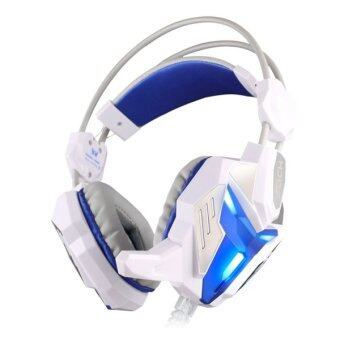Harga KOTION EACH G3100 Vibration Function Pro Gaming Headphone Games Headset With Mic Stereo Bass LED Light For PC Gamer,Cable Length: About 2.4m(Blue + White) - Intl