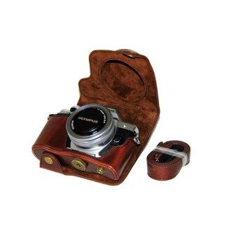 Harga PU Leather Camera Case for Olympus E-M10 MARK II EM10 Mark2 (14-42mm)EZ (Coffee)