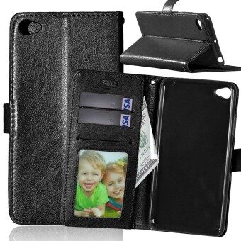 Harga PU Leather Flip Stand Case Wallet Card Slots Cover For Lenovo S90 Sisley (Black)