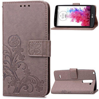 Harga Lucky Clover PU Leather Flip Magnet Wallet Stand Card Slots Case Cover for LG G3 Stylus D690N Gray - intl
